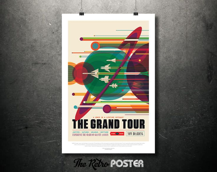 NASA Space Travel Poster - The GRAND TOUR A Once In A Lifetime Getaway - Father's Day Gifts for Dad Retro Sci Fi Space Age Art Print Canvas by TheRetroPoster on Etsy
