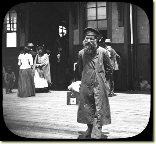 A Russian Jewish man at Ellis Island,  (image, c.1880s - c.1910s). ~ The historic timeline of immigrant processed in America; First facility: Castle Clinton in the Battery, NYC, from c.1855 - c.1890. Second: The Barge Office on the Battery, from c.1890 to c.1892. Third location: Ellis Island Immigration Station, from January 1st, c.1892, to c.1897, until the facility burned. Fourth: fireproof facility, at Ellis Island, constructed c.1897 - c.1900, until, c.1954. ~  {cwlyons} ~  (Image: NYSA)