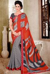 Gleaming Grey and Red Saree - https://www.ethanica.com/products/gleaming-grey-and-red-saree