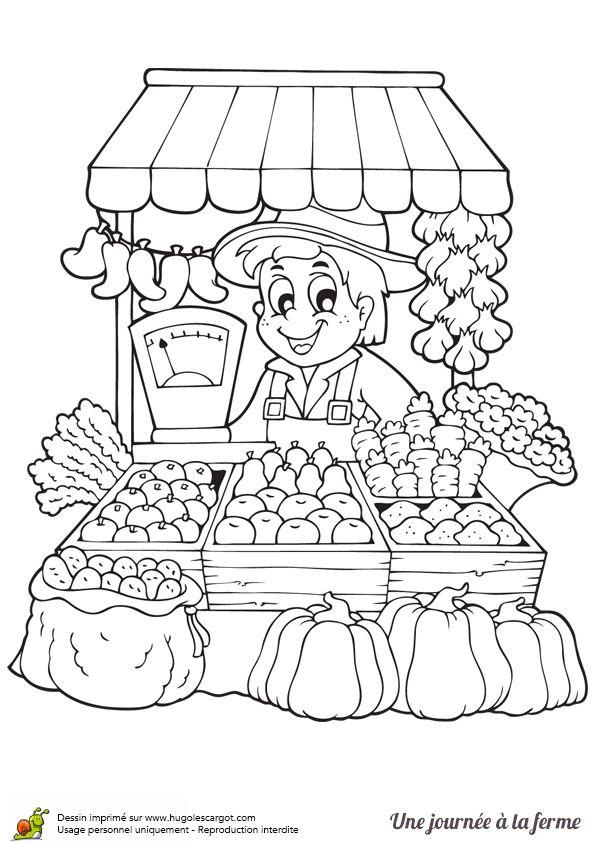 Coloriage d'un marchand tout heureux de vendre les produits de sa ferme