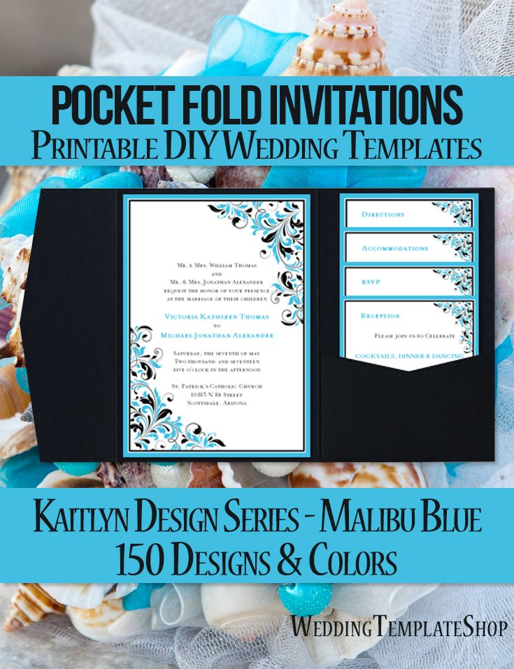print yourself wedding invitations kit%0A DIY Printable Pocketfold Wedding Invitation templates shown here in the  Kaitlyn design series in malibu blue