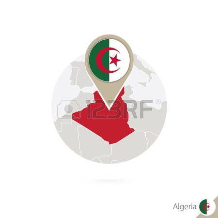 Argelia mapa y la bandera en círculo. Mapa de Argelia, Argelia pin de la bandera. Mapa de Argelia en el estilo del globo. Ilustración del vector.