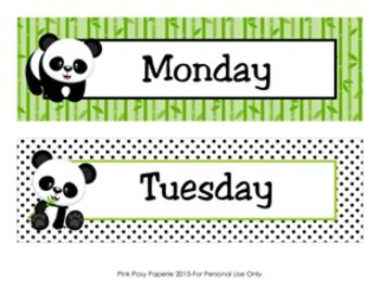 These sweet days of the week headers are great for a panda theme classroom. All 7 days are included as well as the following headers:  Today is: Tomorrow will be: Yesterday was: Days of the week  One blank header, not editable, is also included.    The headers measure 10 inches wide by 3 inches tall.