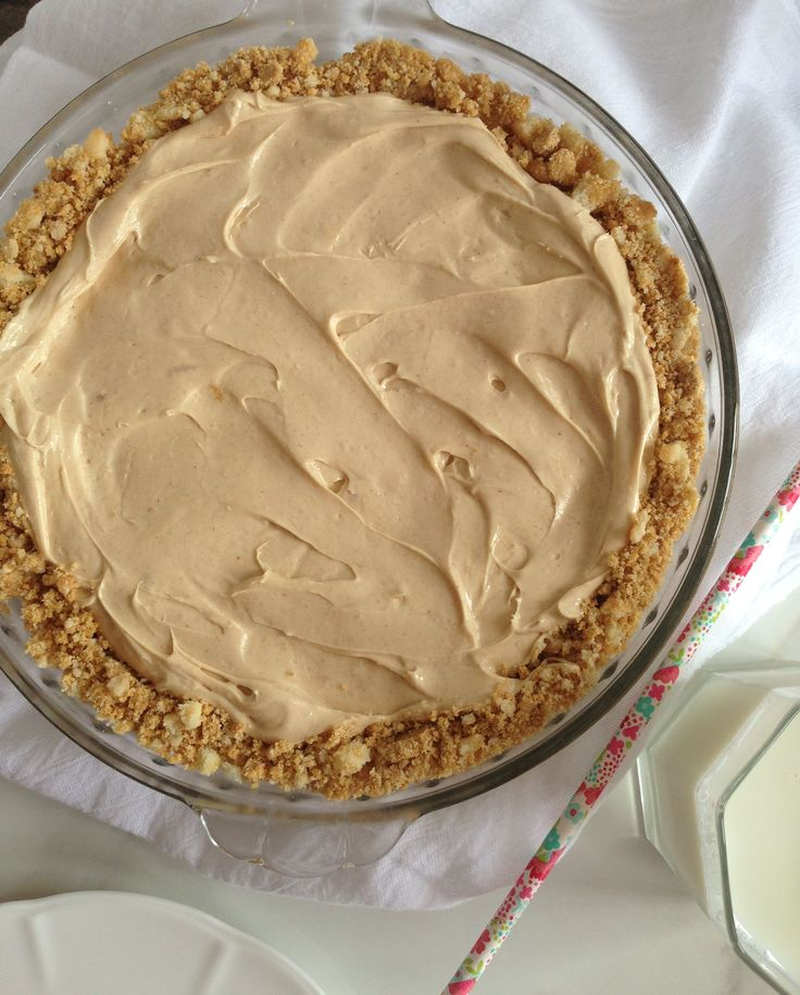A super easy and fast recipe for No Bake Peanut Butter Pie using graham crackers, peanut butter, cream cheese, Cool Whip, and powdered sugar.