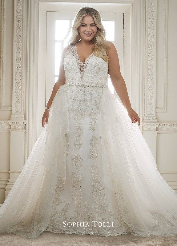 371617e4b8ceb Always Elegant Bridal Sophia Tolli Y11883 Olympia   A tale of two dresses,  Olympia is a two-piece misty tulle, organza and beaded lace appliqué fit  and ...