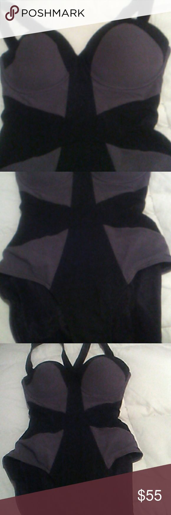 Bodycon Style Criss-Cross back underwear Black and grey color block very flattering underwire bust installed brawl Criss-Cross back for lots of support color blocking for added fluttering size 12 made by Spanx SPANX Swim One Pieces
