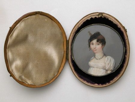 Portrait miniature, watercolour painting on ivory, An Unknown Girl in a White Dress, British (English) School, c.1810. Oval. Head and shoulders portrait of a young girl wearing a high-waisted white dress with puffed sleeves, necklace and earrings, aged about 18. Plain grey gouache background. (SNO.P.299b, now missing). NT 1336663.1