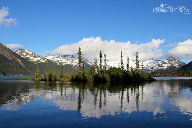 The Reflections of Clouds & the Battleship Islands. Garibaldi Lake on a Summer Evening.