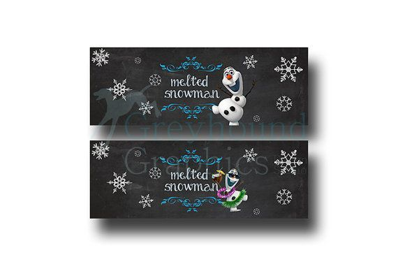 water bottle Labels Frozen birthday label set - Disney's Frozen - Disney Princess - Princess Anna - Girl Chalkboard Card - Printable