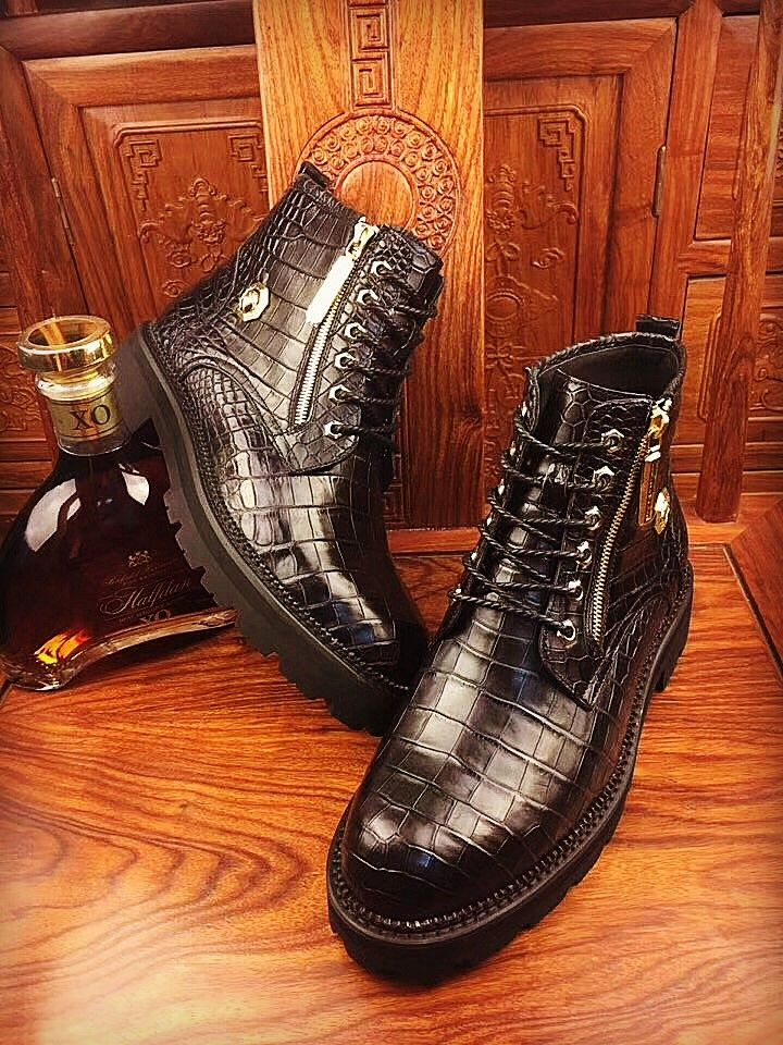 3b2cb344522 Casual Alligator Leather Wingtip Lace Up Boots in 2019 | Alligator ...