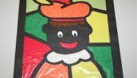 Handvaardigheid rond Sinterklaas, glas-in-lood-Piet | Educatie en School: Diversen