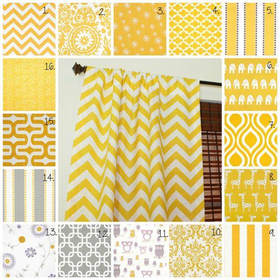 Curtain Panels Set Corn Yellow Drapes Corn Yellow Curtain Panels Grey Curtain Panels Gray Curtain Panels Owl Curtains Nursery Curtains  This