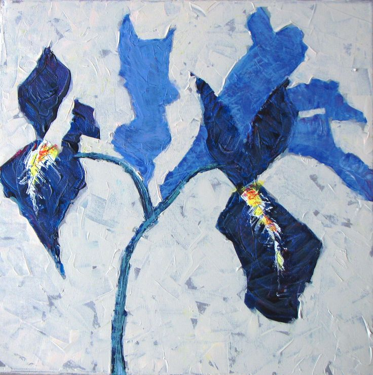 wepaint.dk kursus blå blomster lær at abstrahere fra virkeligheden og gør baggrunden spændende