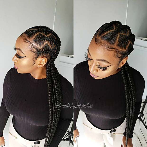 43 Cool Ways to Wear Feed In Cornrows 31. Half Up,…