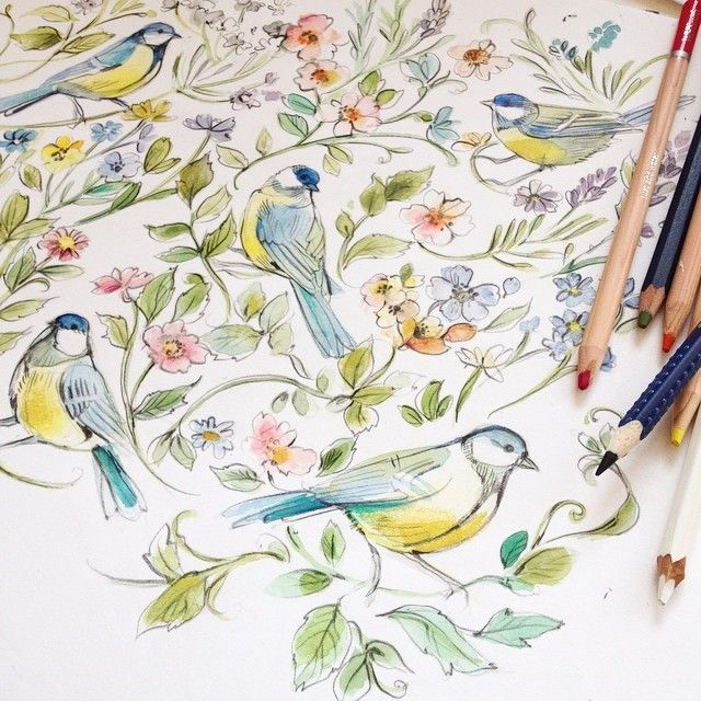 Floral watercolor painting #flowers #Birds #watercolor #art #painting #drawing