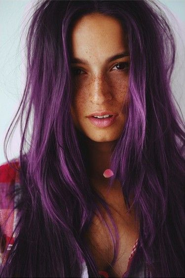 Messy Styled Long Wavy Purple Hairstyle. Another color idea...