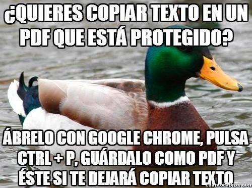 Copiar texto en pdf protegido