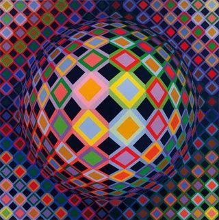 Victor Vasarely est considéré comme l'un des représentants les plus importants de l'op art. Il a développé son propre modèle de variation de cet art abstrait géométrique.