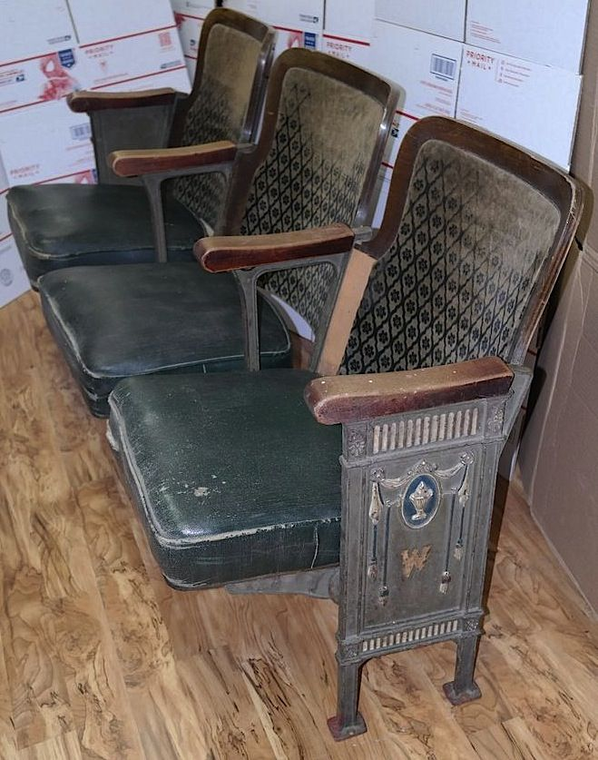 Cinema Theater Seats 3 Row Vintage Folding Chairs Two Antique Green Ends.  Best Sale Discount Auditorium