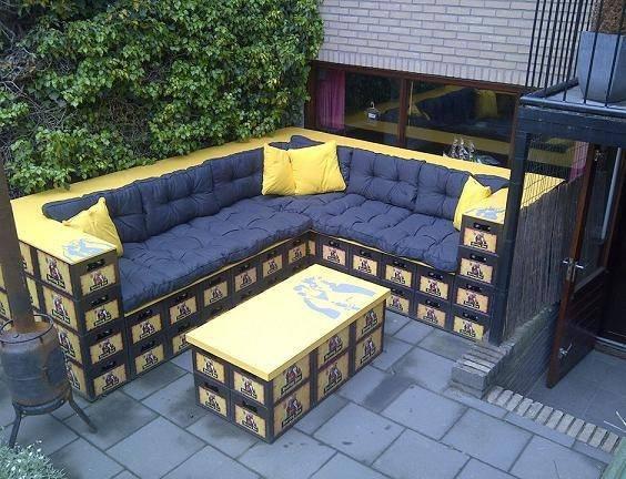 Lounge seat made of beer crades, brilliant! (Picture taken by Hugo van den Berg).