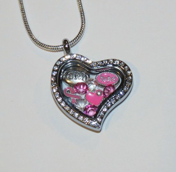 Breast Cancer Awareness Locket/Pink Ribbon/Glass Floating