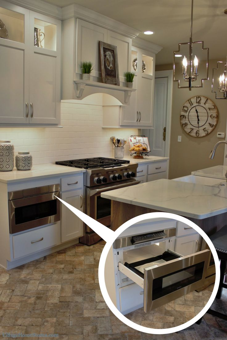 Stainless Steel Appliances In A White Painted Kitchen. Sharp Microwave  Drawer. | VillageHomeStores.