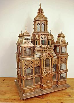 Swiss Antique Model of a Chateau as bird cage, c1890.