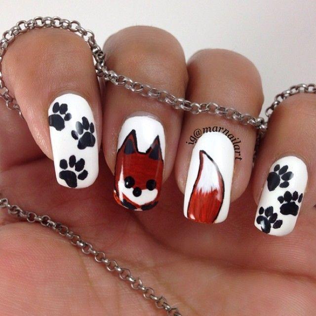 дизайн ногтей животные   лиса