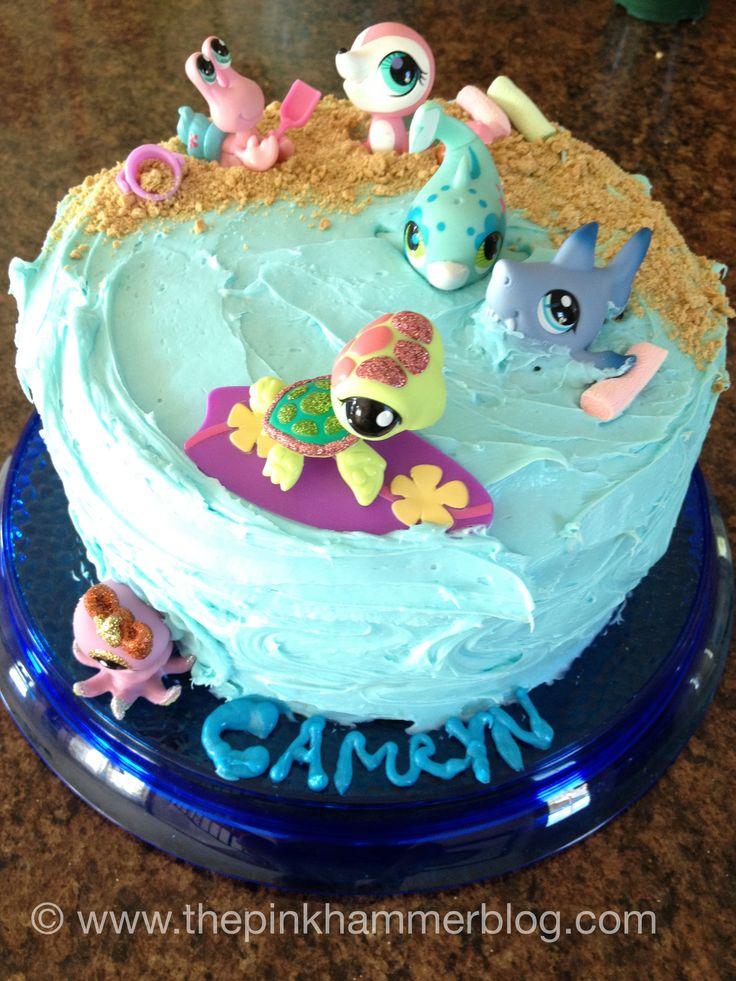 Littlest Pet Shop Ocean birthday  cake via Kelly Whitman | The Pink Hammer Blog #lps #littlestpetshop #cake #birthday #party #baking  http://www.thepinkhammerblog.con