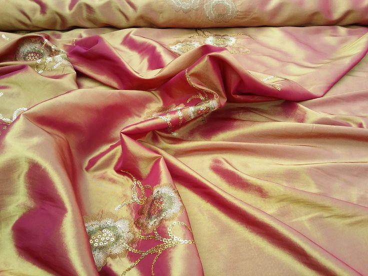 Embroidered Sequins Flowers silk Taffeta fabric asian sari dress blinds cushions