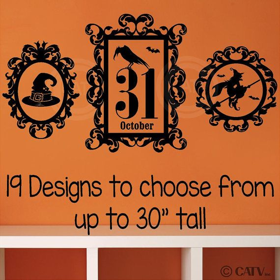 Halloween Frame portrait vinyl lettering wall by VinylLettering, $8.97 Halloween Frame vinyl lettering witch bat owl crow haunted house october 31