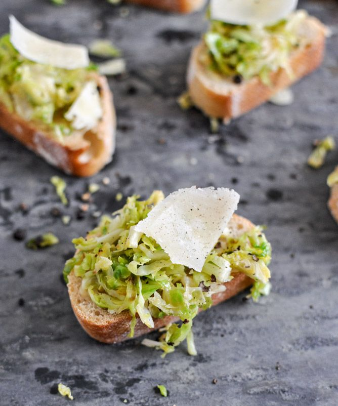 Parmesan Brussels Sprouts Crostini