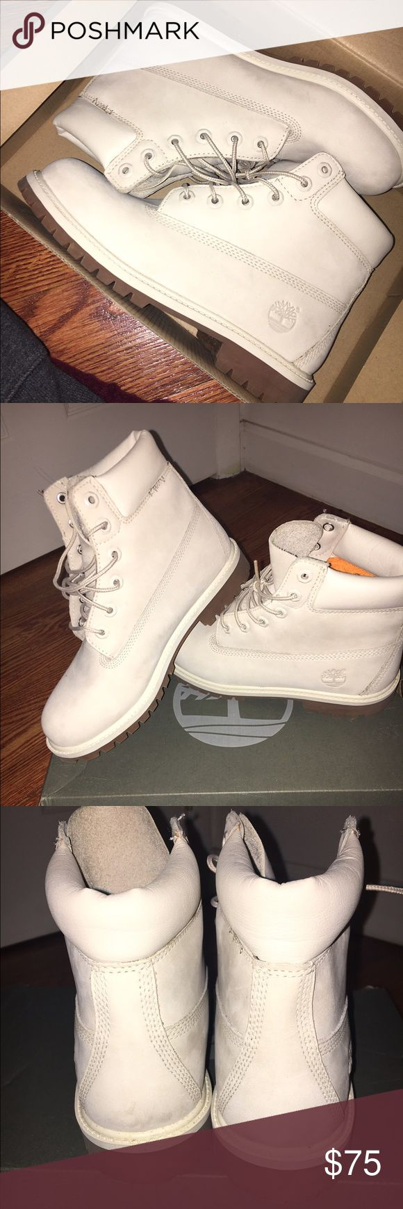 Off White timberland boots 6.5 juniors off white timberlands= approx. 8 in women's Timberland Shoes Ankle Boots & Booties