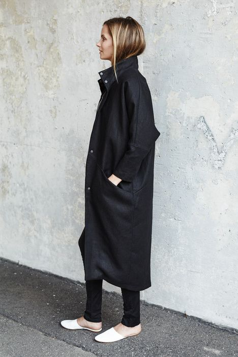 Cocoon Coat - Jet Linen | Emerson Fry | @andwhatelse