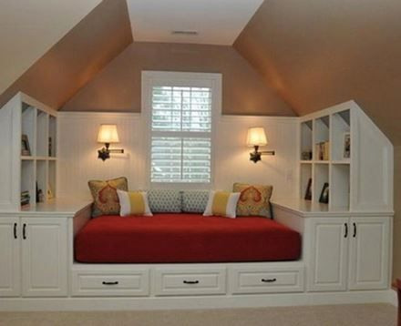 What a great idea for that bonus room over the garage that has the slanted ceilings!