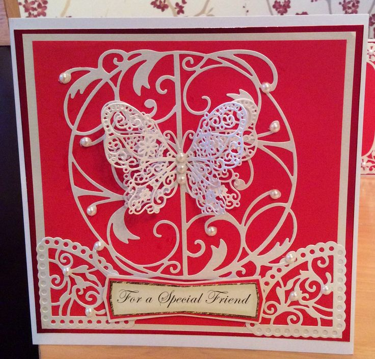 Handmade card using tattered lace die and half the tonic fairy dies