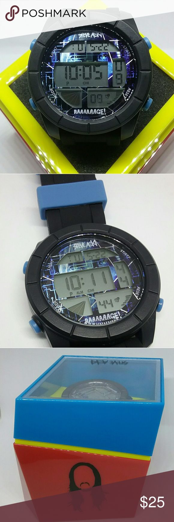 "Super Star DJ Steve Aoki Black Digital Wristwatch Item. New Super Star ""DJ Steve Aoki"" Black Digital Wristwatch  . Color: Black Band & Black Face . Material: Silicone Rubber Wristband  . Brand. Official  Steve Aoki Merchandise Accessories Watches"