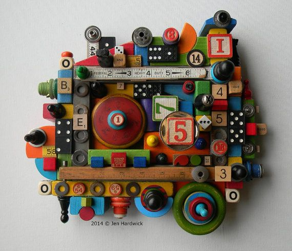 Recycled Assemblage Game Changer Found Object Art by redhardwick