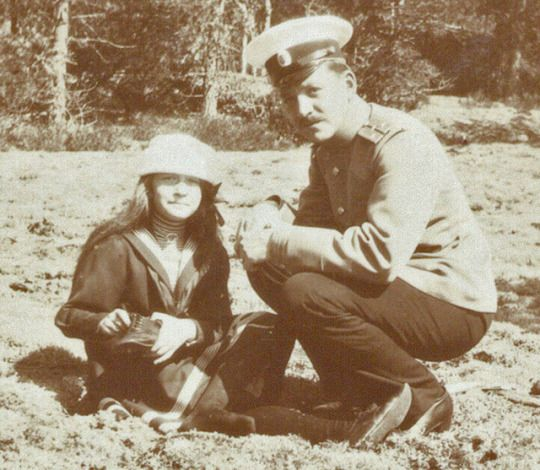Anastasia Romanov and an officer from the Standart, Summer, 1911