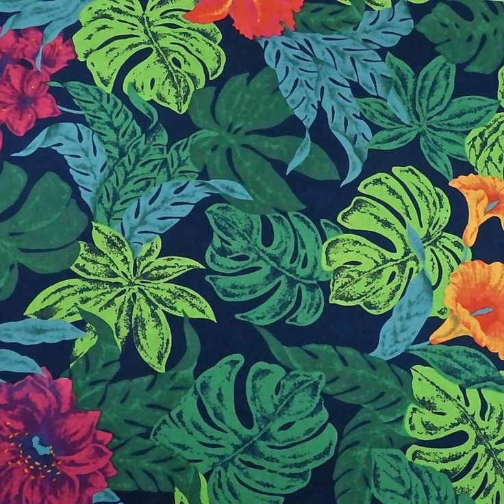 """By Wamsutta OTC, large tropical flowers and foliage in vibrant colors on a navy blue background. Excellent quality 100% cotton; machine wash and dry. All Fabric from """"Sew You Think You Can Dance?"""". is high quality 100% cotton unless otherwise stated. 