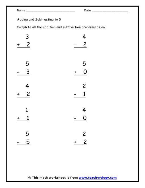 kindergarten math worksheets | Standards Met: Simple Sums ...