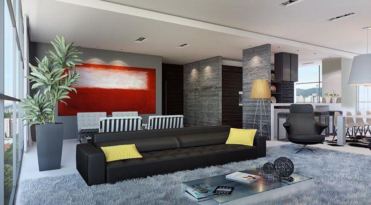 Cobertura residencial  Living  Projeto arquitetura  Imobiliária