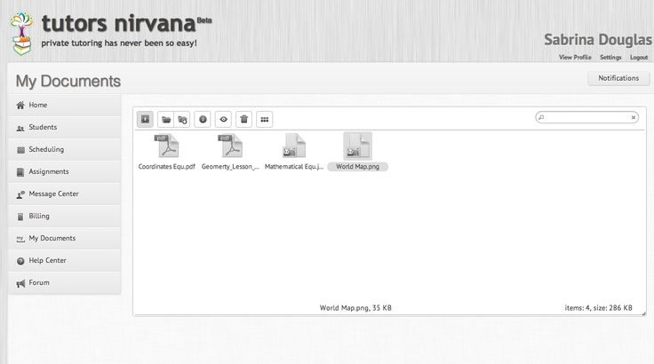 My Documents (10 MB - 500 MB of document storage) - Keep all your documents in one place and share them easily with your students. http://www.tutorsnirvana.com/