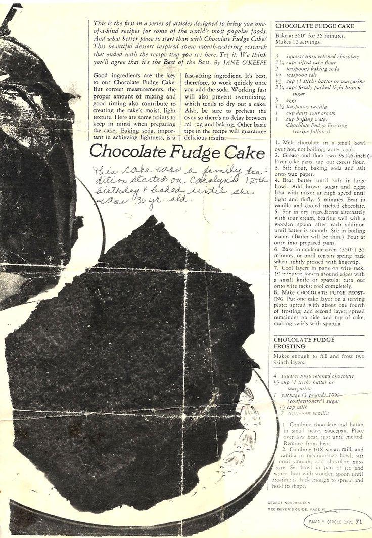Chocolate Fudge Cake (1975 Family Circle Recipe)
