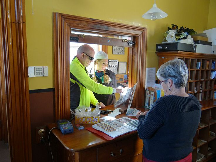 Getting a tour of the Ophir Post Office. This historic building is still a working Post Office.