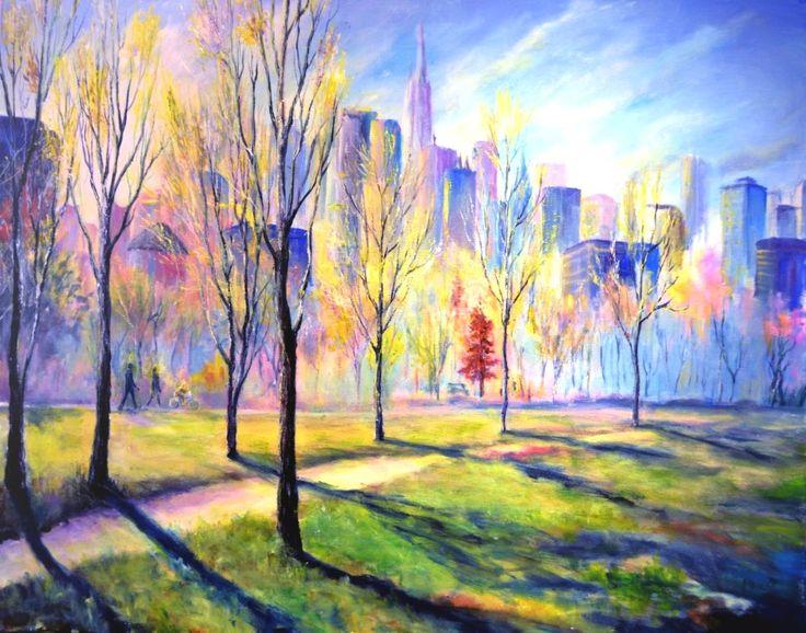 """Авторская работа """"Весна пришла""""  (70х100, холст, акрил + деревянный багет). Тянутся к солнцу деревья и небоскребы, спешит на прогулку в парк молодая семья..."""