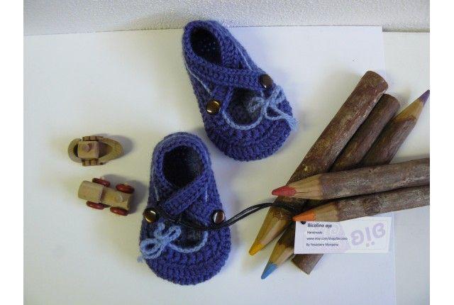 Scarpine uncinetto ballerina blu criss cross per bambina (neonato)