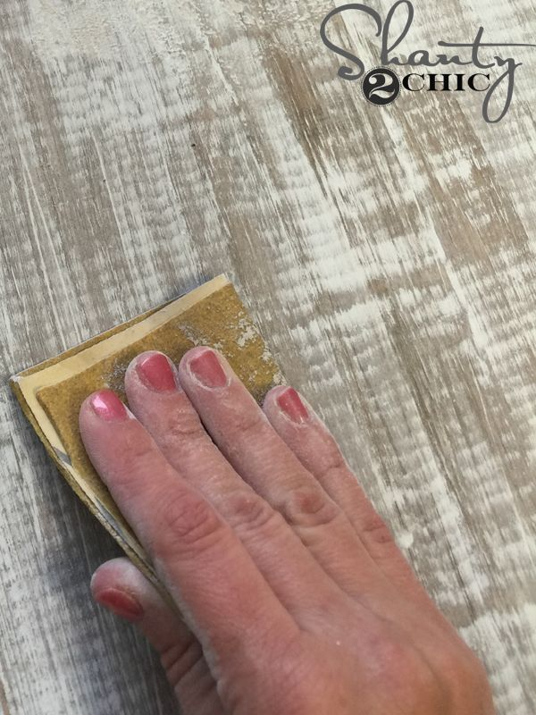 How to get the perfect distressed finish, barn wood finish, chippy paint finish and distressed paint finish in a how-to video by www.shanty-2-chic.com