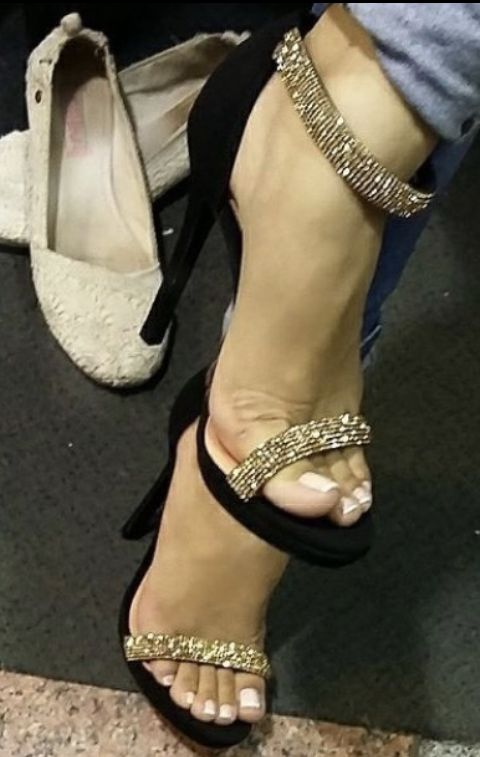 Sexy Feet White Toenails & High Heel Stiletto Ankle Strappy Sandals