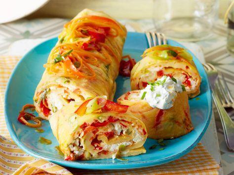 Ofenpfannkuchen mit Gemüse und Feta